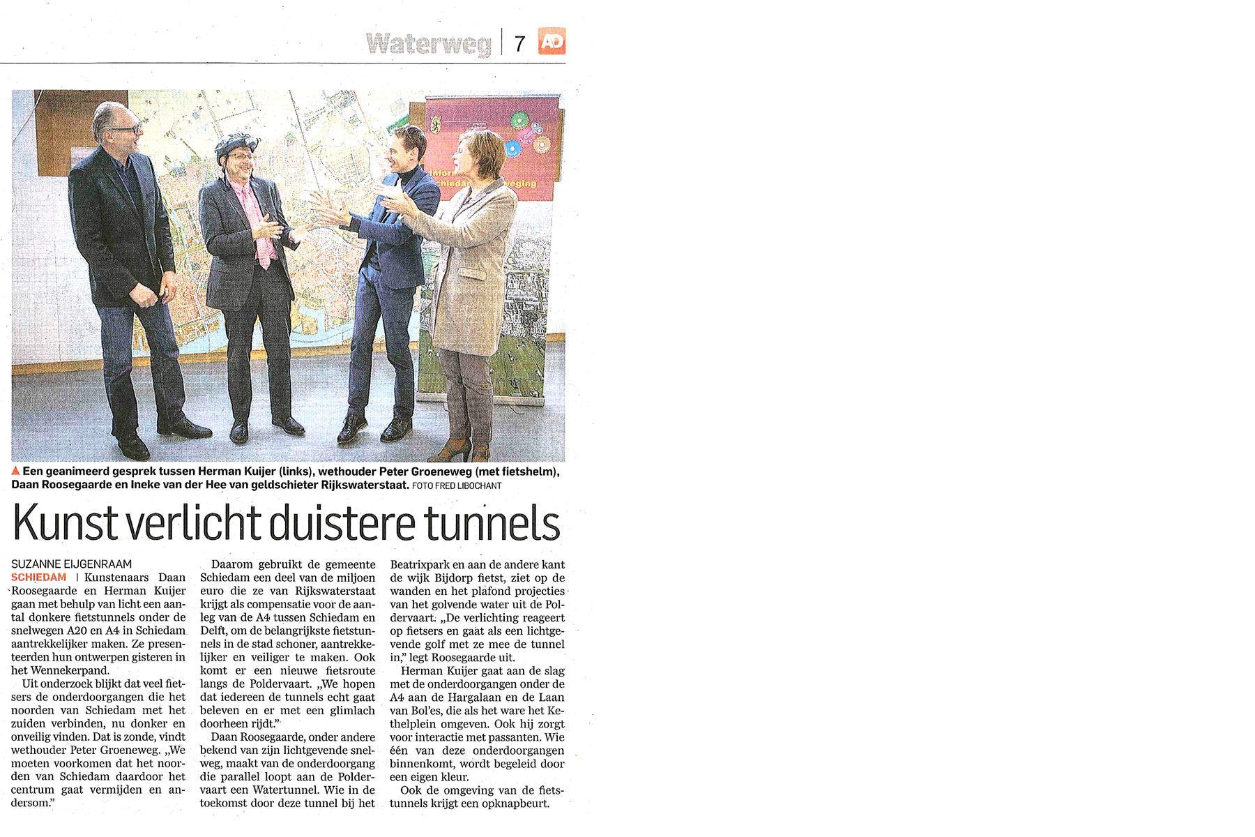 Kunst verlicht duistere tunnels - Algemeen Dagblad 2014